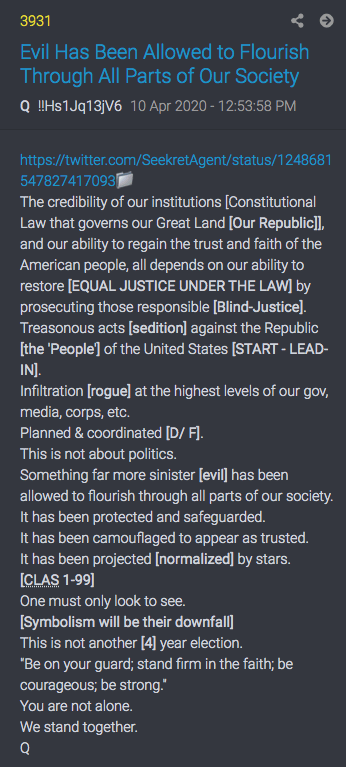 Q Post 3931 - Evil has been allowed to flourish